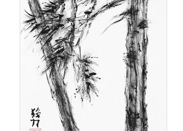 sumi-e, pinetree, six, black, ink