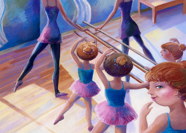 At the Barre pastel drawing print