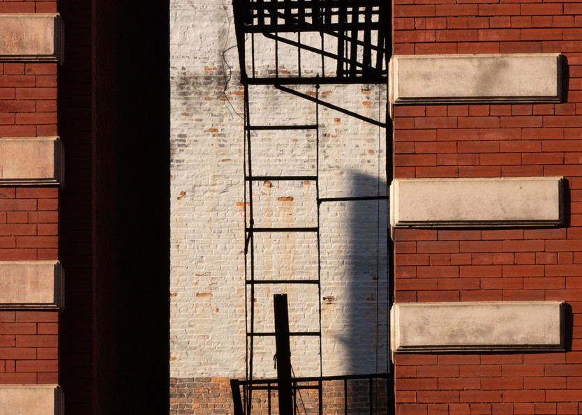 Fire Escape Between Two Red Buildings, Nyc Photography Art | Ben Asen Photography
