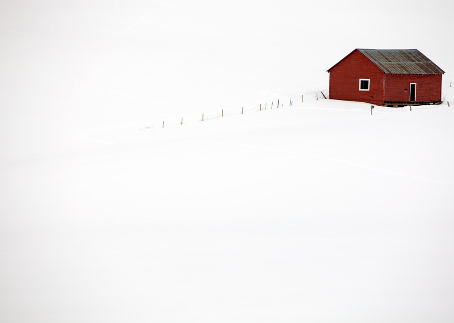 photograph of a little red house, Colorado, deep snow, on the backroads