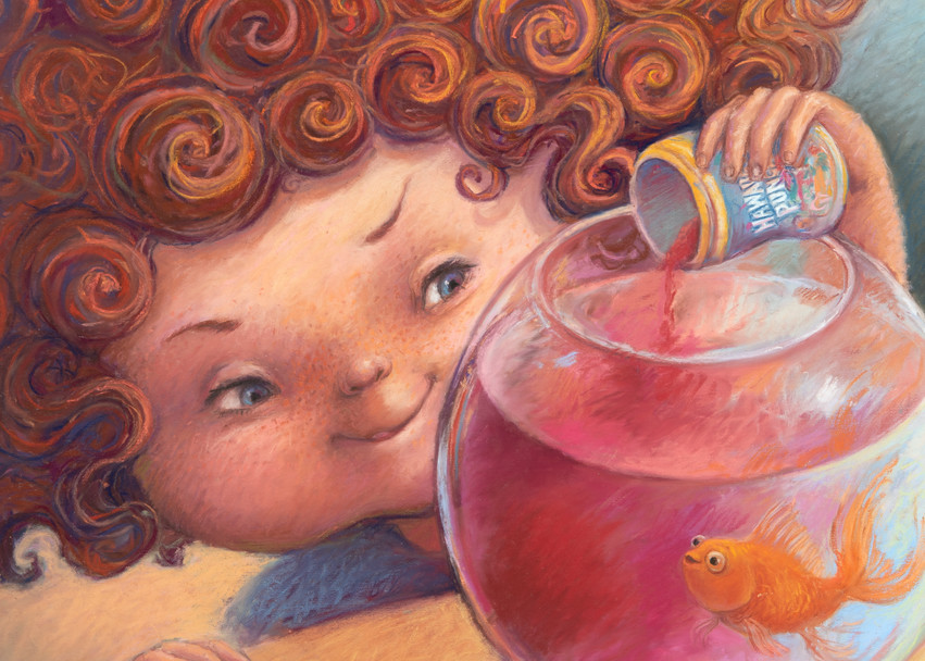 Stephanie gives Hawaiian Punch to her goldfish
