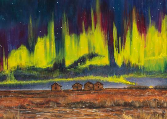 Northern Lights, prairie, sky, landscape
