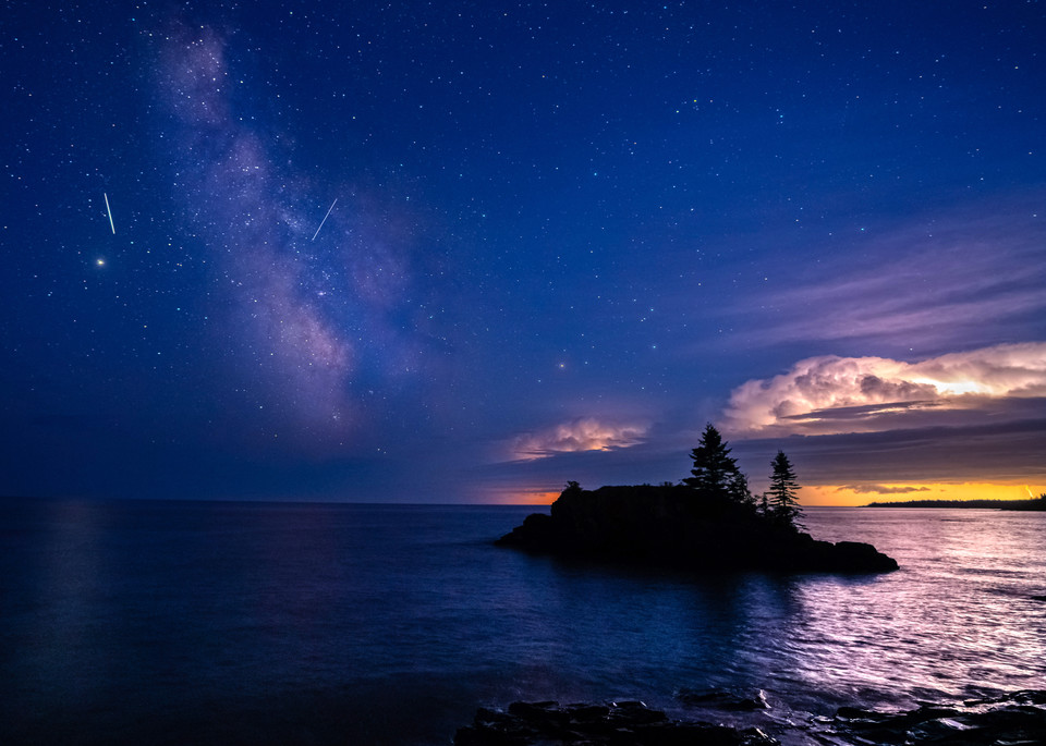 Perseid Meteors Milky Way And A Thunderstorm At Hollow Rock Photography Art   William Drew Photography