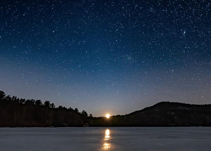 Post Pond Setting Moon Photography Art | Hatch Photo Artistry LLC