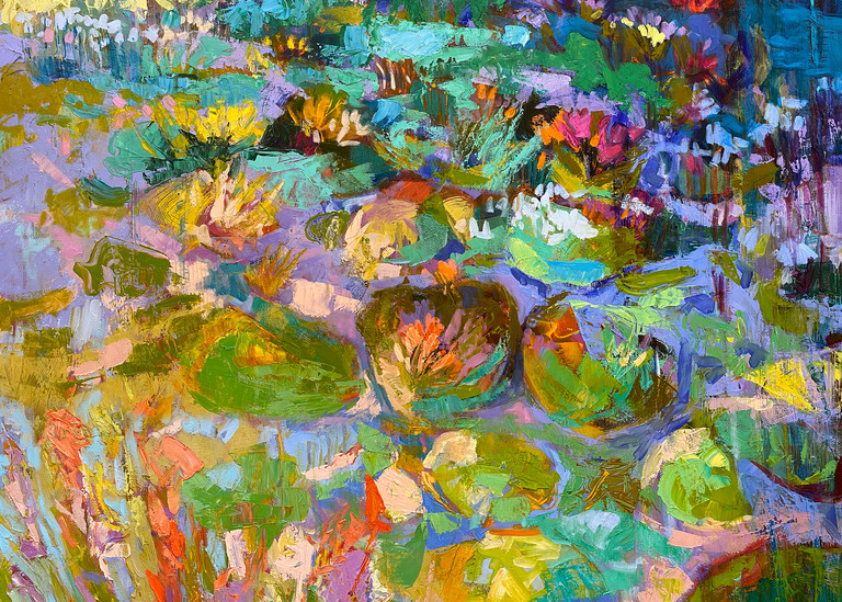 Oversize Abstract Waterlilies Painting by Dorothy Fagan