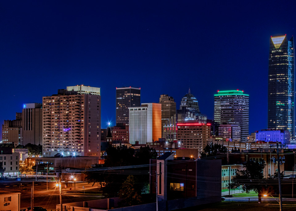 Oklahoma City skyline squared - Oklahoma fine-art photography prints.