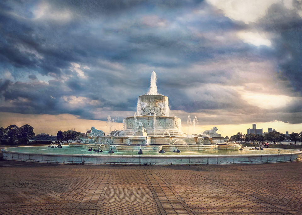 Belle Isle Fountain At Sunset Art | Picture Detroit