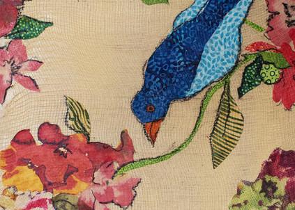 Birds and Flowers canvas print, sharon Tesser