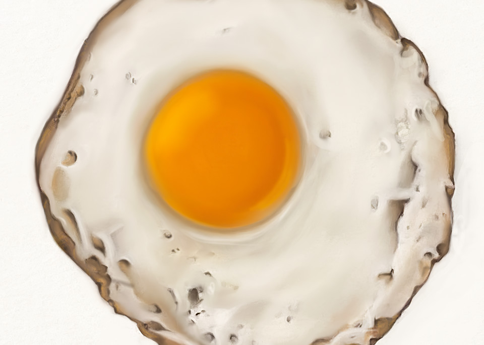 Fried Egg No. 1, Drawing, 2020, Coloured Pencil Drawing by artist Carolyn A. Beegan