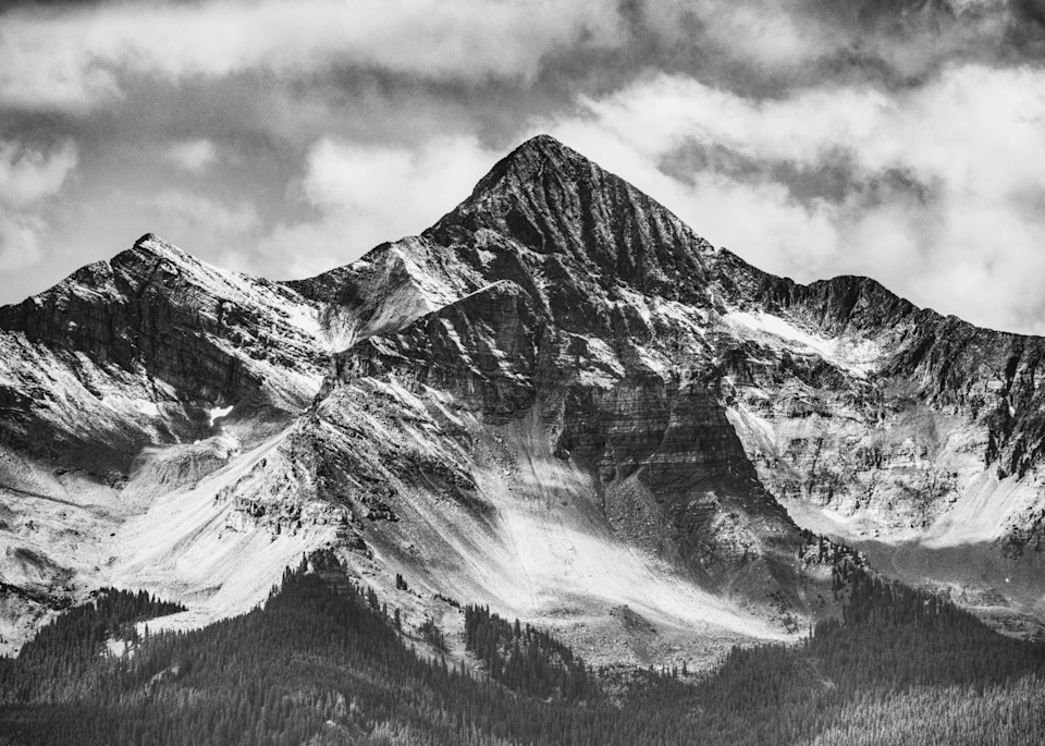 First Snow Of The Season On Wilson Peak (B&W) Photography Art | Peter Batty Photography