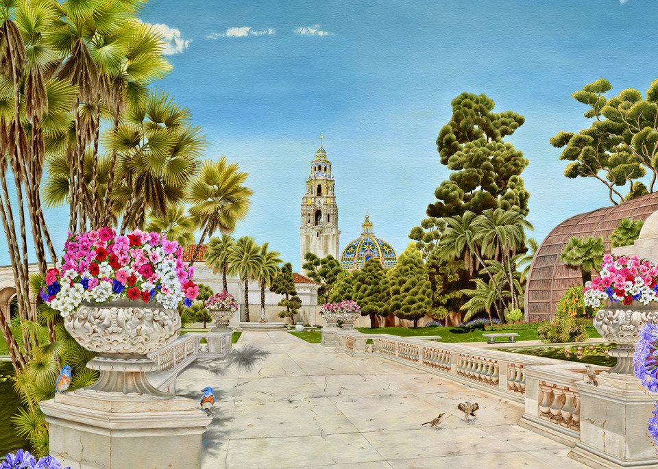 Balboa Park ~ Centennial Tribute   Bridge Over The Lily Pond, The Botanical Building And The California Tower And Dome   Prints  Art | Mercedes Fine Art