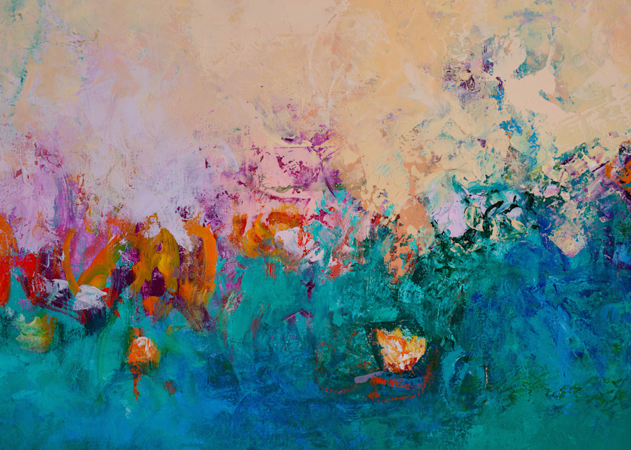 Abstracted Floral Canvas Blue Wall Art