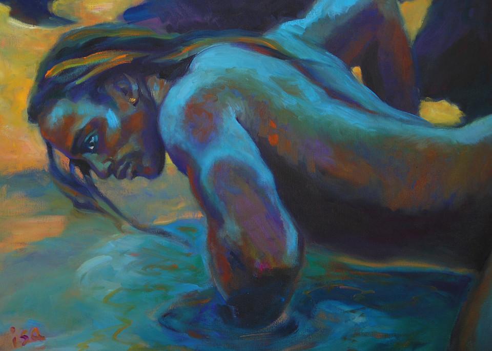 Isa Maria paintings, prints - mermaids, gods, goddesses, ocean - Manly Merman