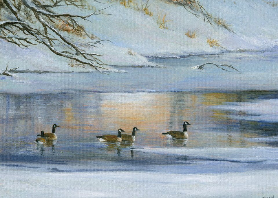 *After The Snowfall  Geese On The River Art | Tarryl Fine Art
