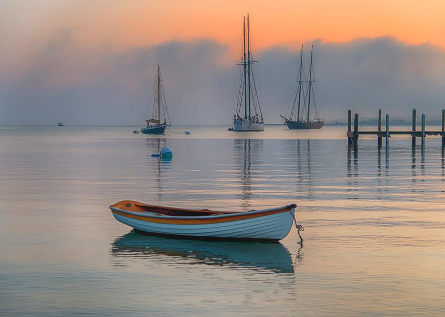 Vineyard Haven Harbor Dory Summer Fog Art   Michael Blanchard Inspirational Photography - Crossroads Gallery