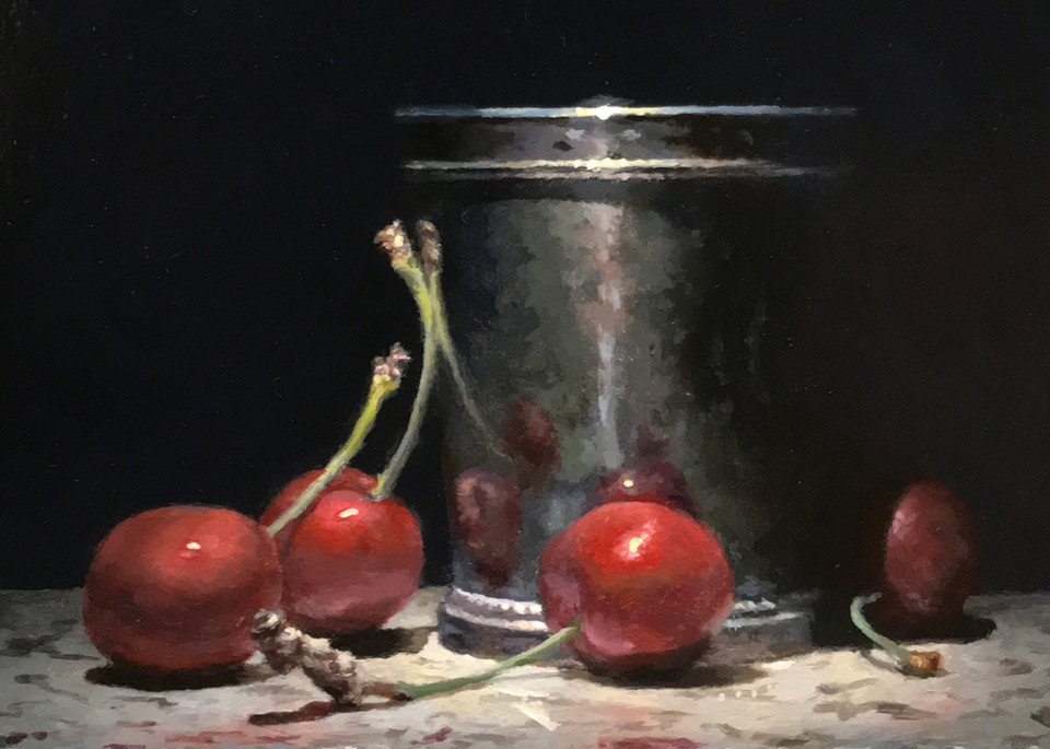 Red Cherries, Silver Cup Art | Jeff Hayes Fine Arts