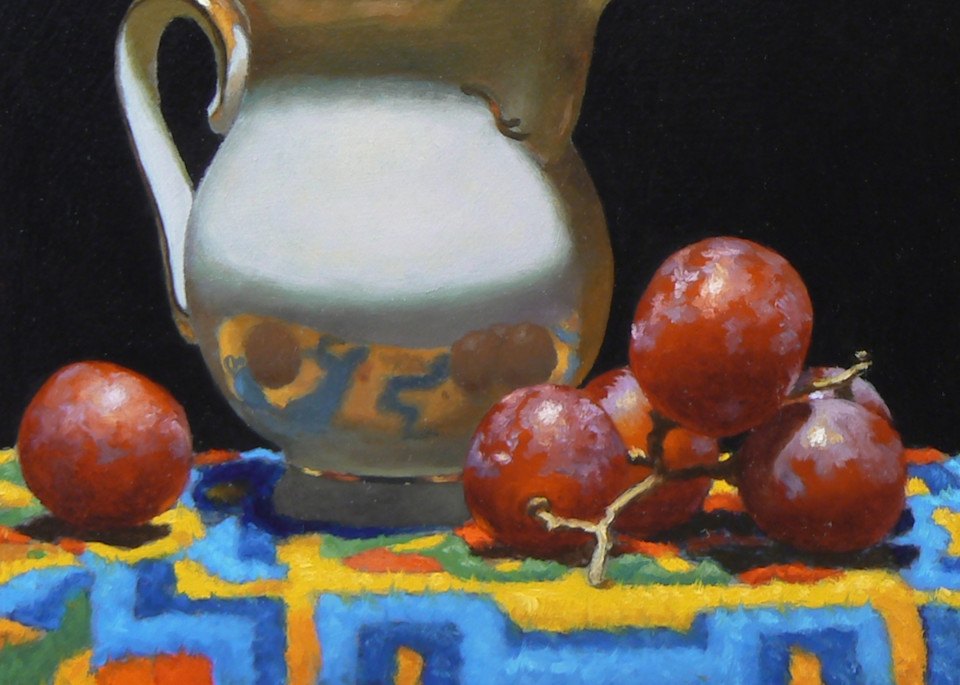 Creamer, Grapes, Tibetan Rug Art | Jeff Hayes Fine Arts