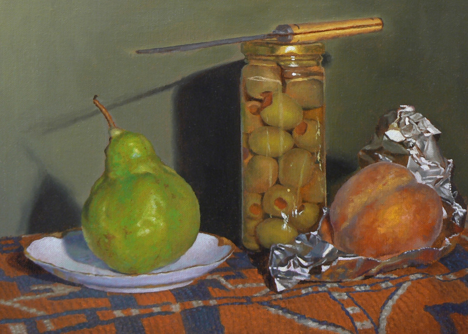 Pear, Olives, Knife, And Peach Art | Jeff Hayes Fine Arts