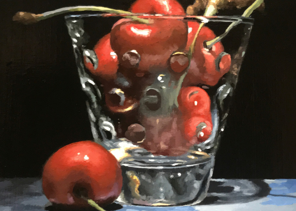 Cherries In Glass On Blue Silk Art | Jeff Hayes Fine Arts