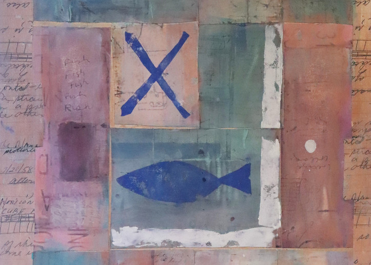 A warm-colored collage featuring a blue fish