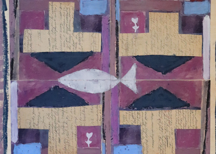 A collage with fish and solid blocks of color