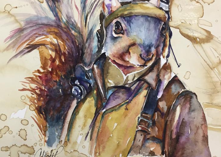 Bomber Pilot Vintage Squirrel Art   Christy! Studios