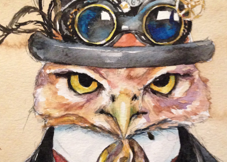 Artemis Owl Steampunk Goggled Mayor Art | Christy! Studios