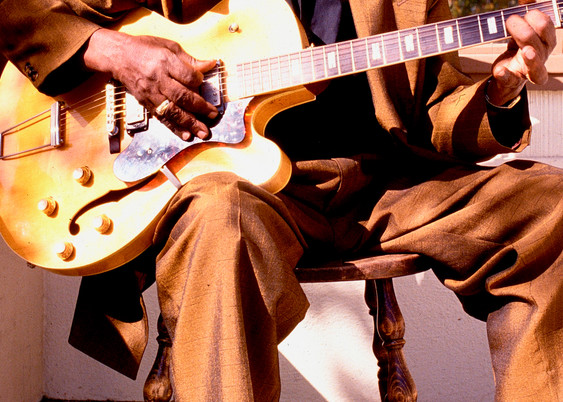 John Lee Hooker on the porch of his house in Redwood City