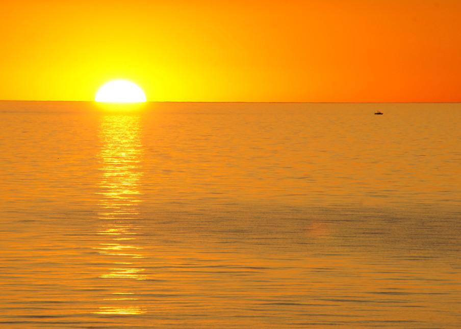 Sunsetting into Lake Michigan