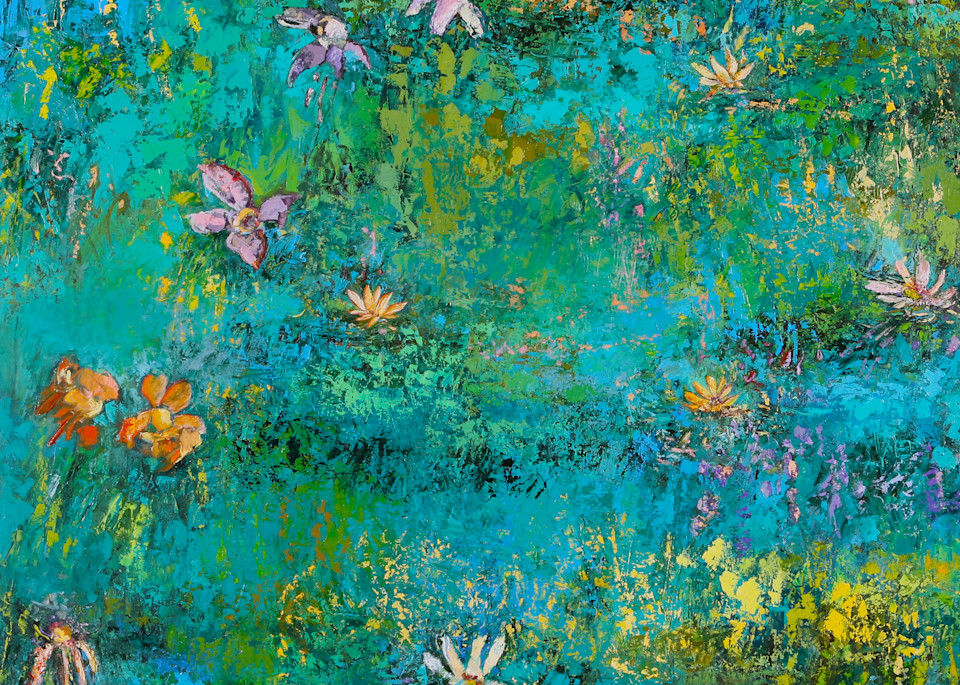 Delicate lovely water lilies canvas wall art