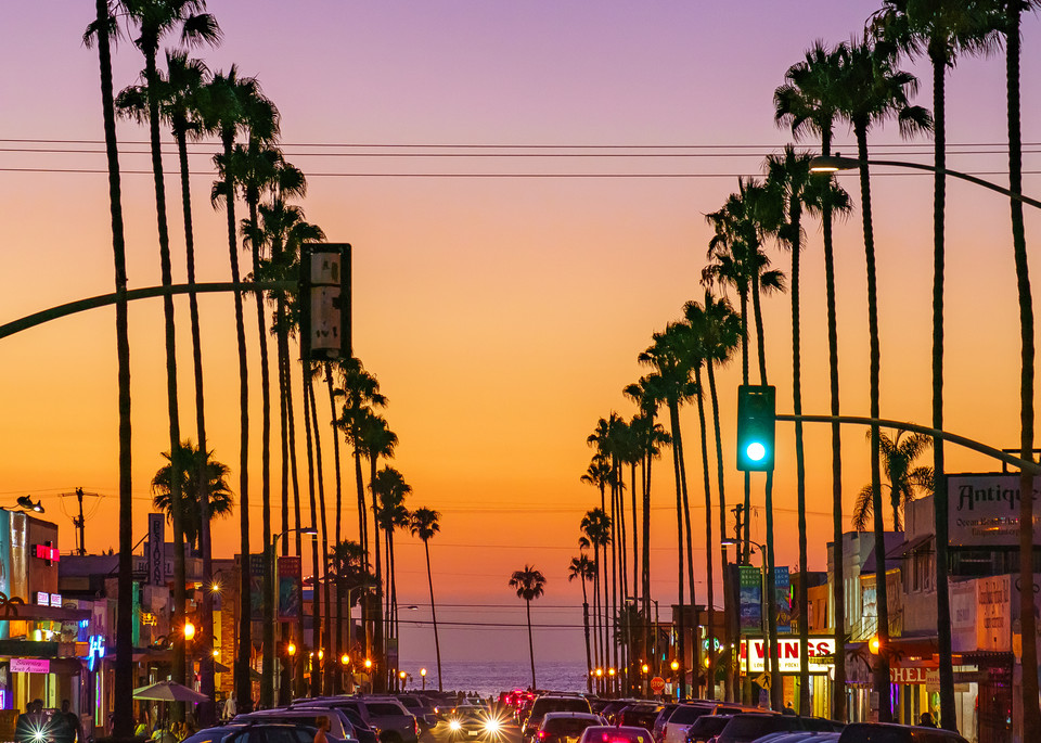 Newport Avenue, Ocean Beach Sunset Wall Art Print by McClean Photography