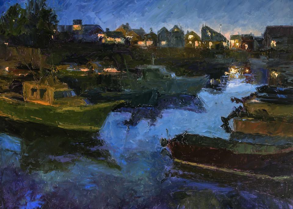 Twilight Rockport Harbor Art | capeanngiclee