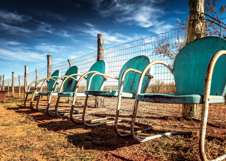 Blue lawn chairs