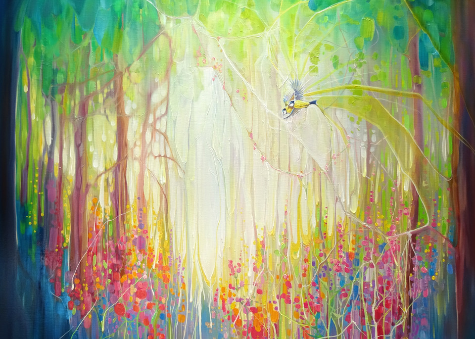 A print of a woodland glade with wild flowers and blue tits set against light through the trees.