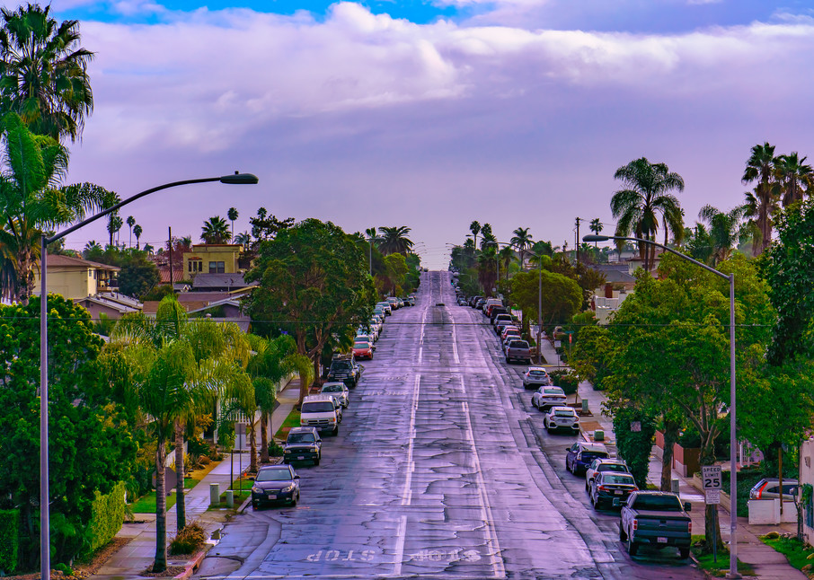 University Heights, San Diego Cloudy Street Wall Art Print by McClean Photography