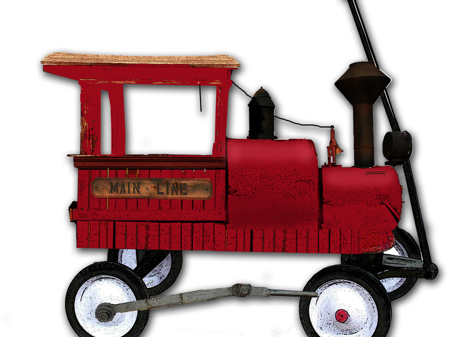 My Red Wagon Is An Old Train Engine Art | Art from the Soul