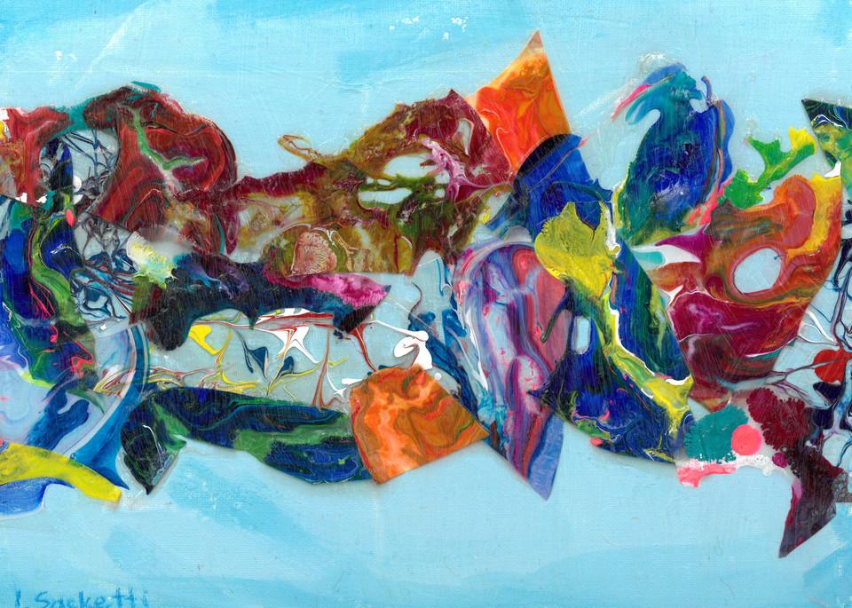 Abstract In Blue 3 Art   Linda Sacketti