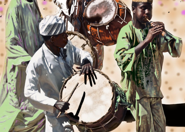 The Tunes Of The Hausa Men Art   TEMI ART, LLC.