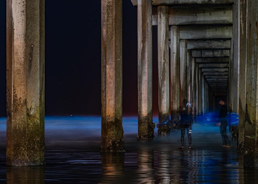 Scripps Pier, La Jolla Bioluminescence Surfers Fine Art Print Art | McClean Photography