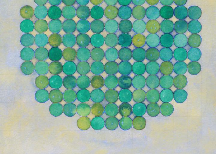 Circle Circle, Green On Green I Art   Courtney Miller Bellairs Artist