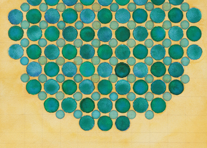 Circle Circle, Green And Blue On Buff Art   Courtney Miller Bellairs Artist