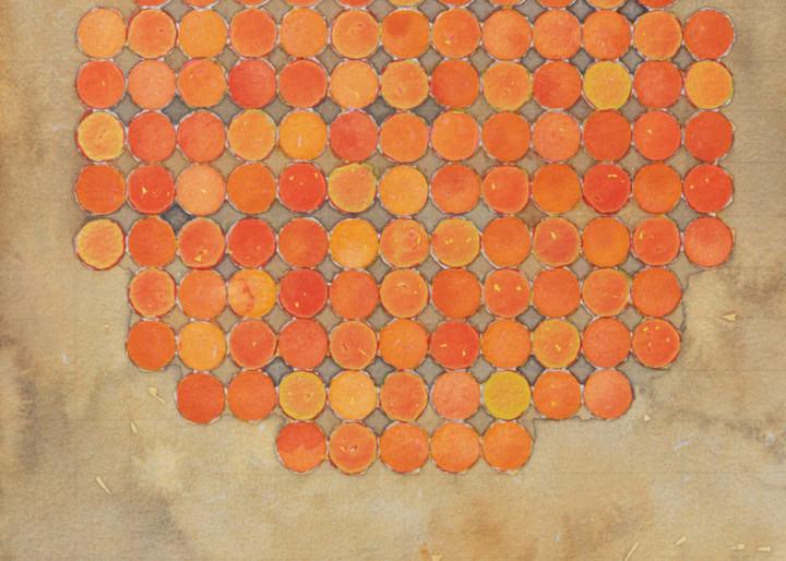Circle Circle Vermillion On Brown Art   Courtney Miller Bellairs Artist