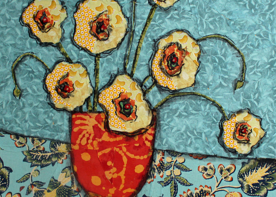 golden blooms print from a Sharon Tesser textile mosaic.