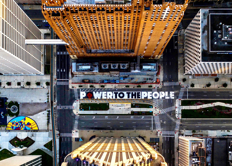 Power to the People downtown Detroit Michigan