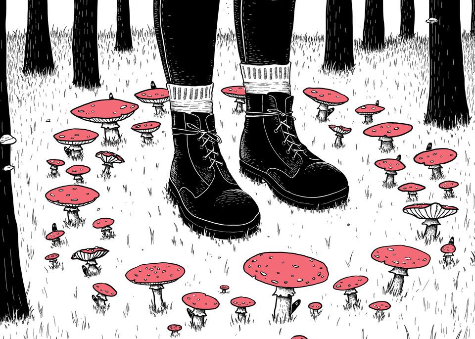 Through the Fairy Ring Amanita Muscaria Fly Agaric Mushroom Art Print