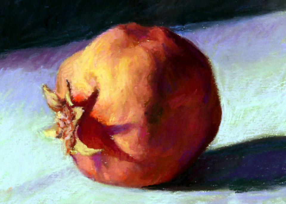 Pomegranate On Light Cloth Art | Waif Mullins Art