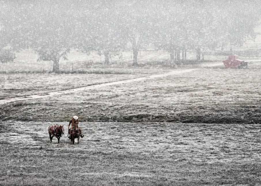 Cowboy & Horse Coming Home In Snowfall in Texas