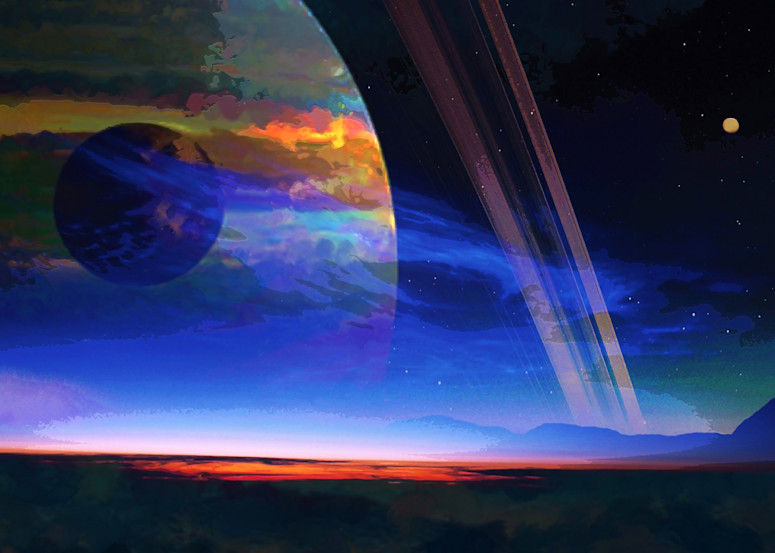 Ringed Planet Moon Art | Don White-Art Dreamer
