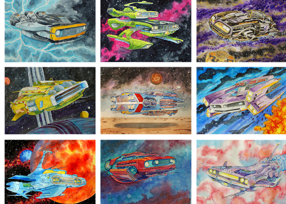 """Intergalactic Muscle"". A distinct watercolor series of muscle cars (1968-1972) envisioned as interstellar cruisers."