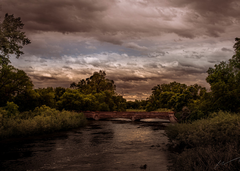 Red Bridge Crossing Photography Art | Harry John Kerker Photo Artist